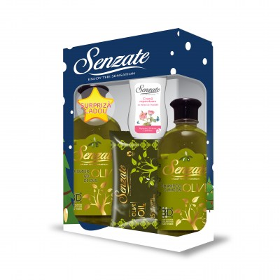 SENZATE CASETA OLIVE ( GEL DUS 500ML+SAMPON 500ML+SERV UMED 15 BUC + GRATIS  CREMA MAINI 50 ML )
