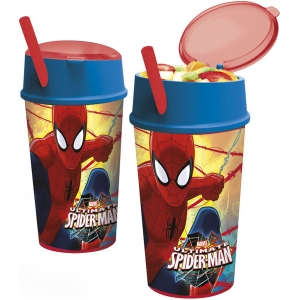 Pahar cu pai si compartiment gustare Spiderman