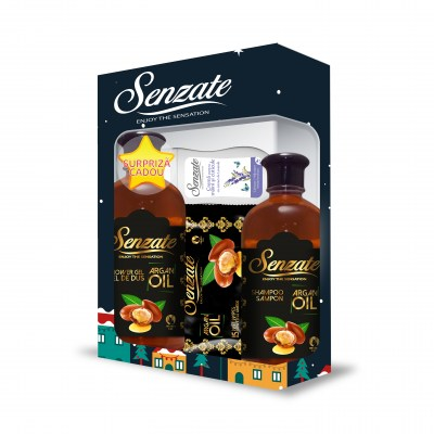 SENZATE CASETA ARGAN ( GEL DUS 500ML+SAMPON 500ML+SERV UMED 15 BUC + GRATIS  CREMA MAINI 50 ML )