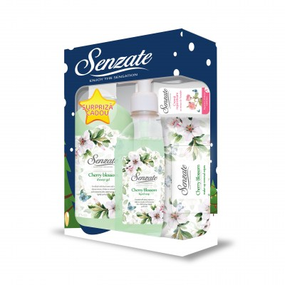 SENZATE CASETA ROMANTIC CHERRY BLOSSOM ( GEL DUS 500ML+SAPUN LICHID 250ML+SERV UMED 15 BUC + GRATIS  CREMA MAINI 50 ML )