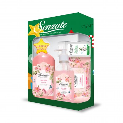 SENZATE CASETA ROMANTIC PINK ROSE ( GEL DUS 500ML+SAPUN LICHID 250ML+SERV UMED 15 BUC + GRATIS  CREMA MAINI 50 ML )